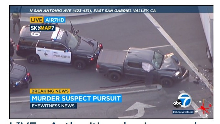 Pickup pursued from Riverside County slams into big rig in Pomona, suspect arrested