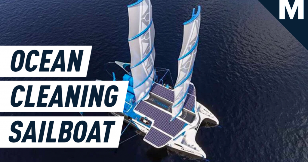 A giant solar sailboat is set to sweep up plastic from polluted oceans