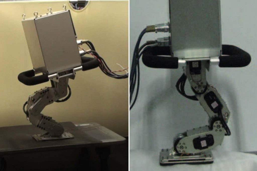 Watch a one-legged robot hop about as researchers try to knock it over